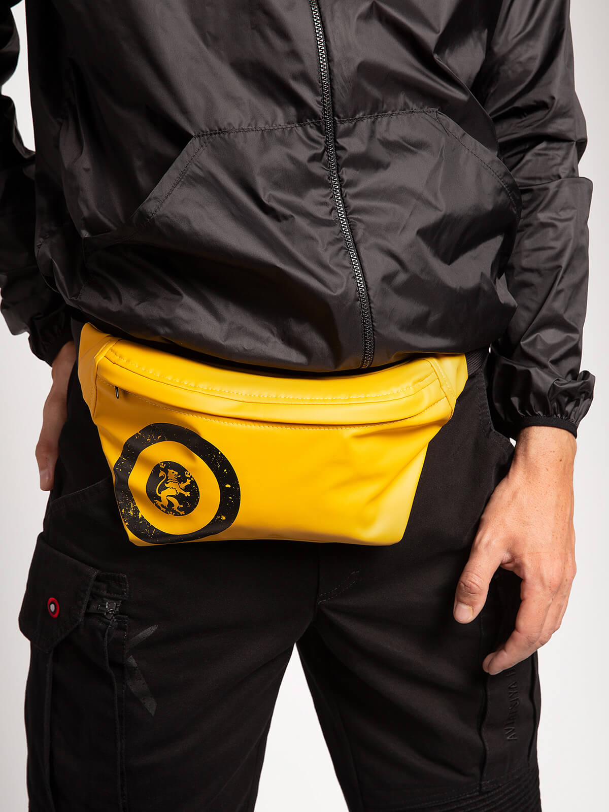 """Windbreaker And Fanny Pack Set """"have A Nice Flight"""". Color yellow.  Material windbreaker: polyester 100%  The color shades on your screen may differ from the original color."""