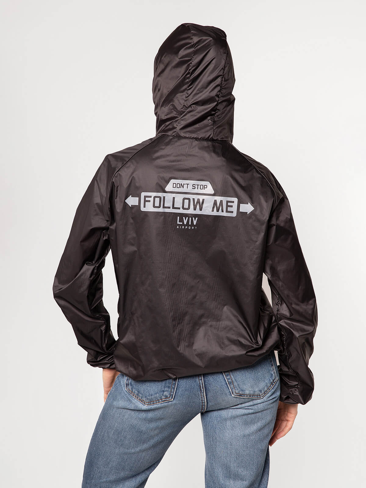 """Windbreaker And Fanny Pack Set """"have A Nice Flight"""". Color black. 10."""