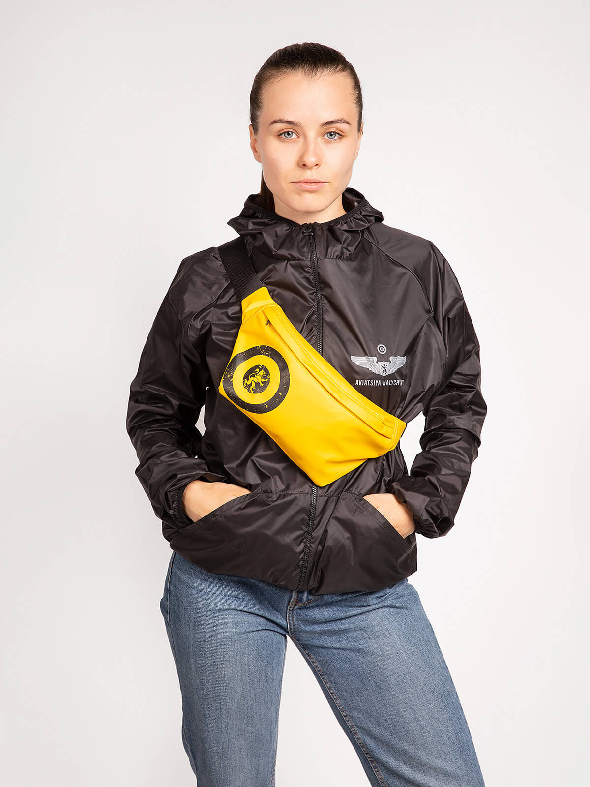 """Windbreaker And Fanny Pack Set """"have A Nice Flight"""". Color black. Material fanny pack: basic – polyester 100%, covering – PVC -100%, water resistance 1500 g/m2/24 hour, resistant to ultraviolet, wearproof."""