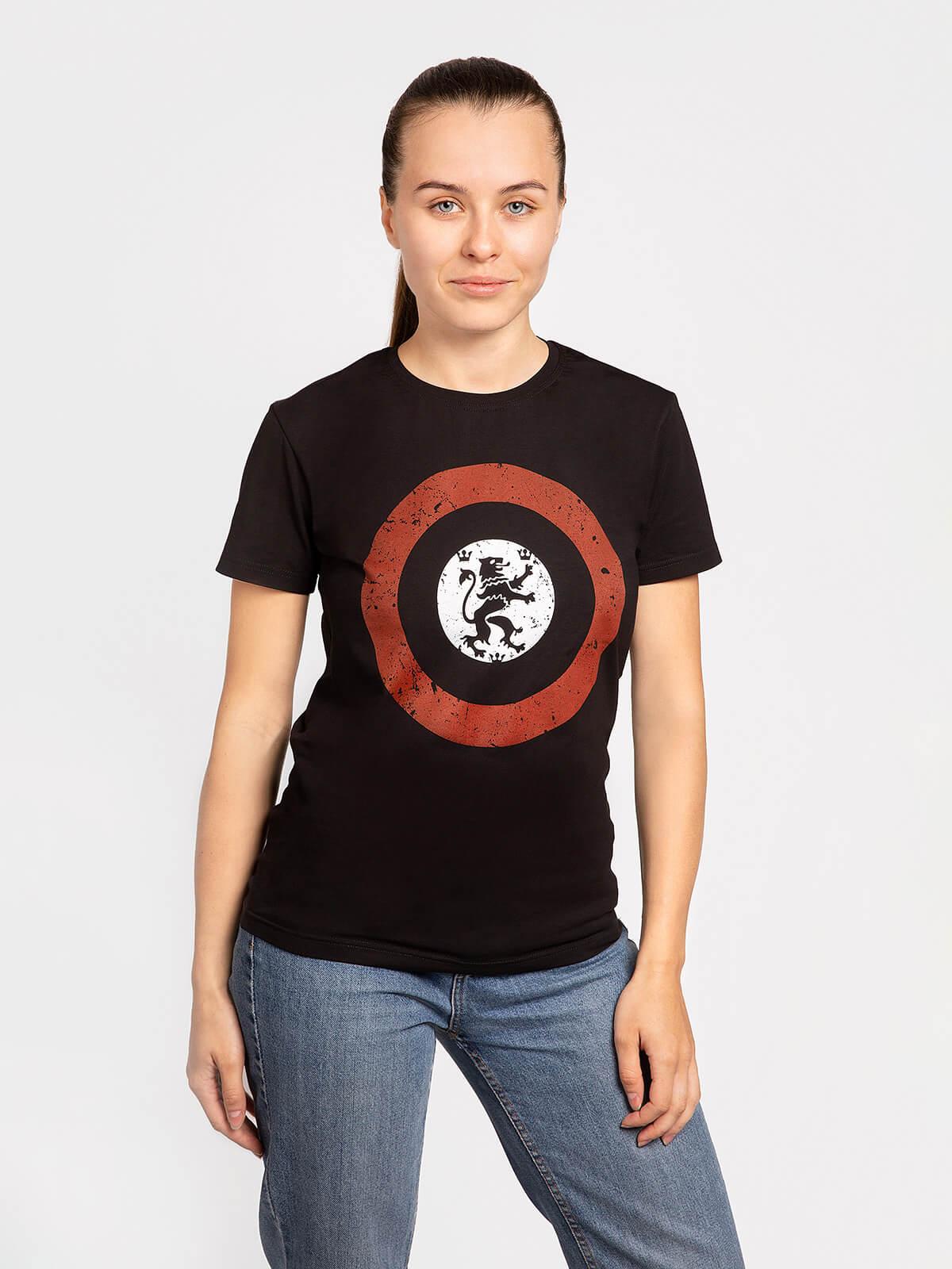 Women's T-Shirt Lion (Roundel). Color black. Material: 95% cotton, 5% spandex.