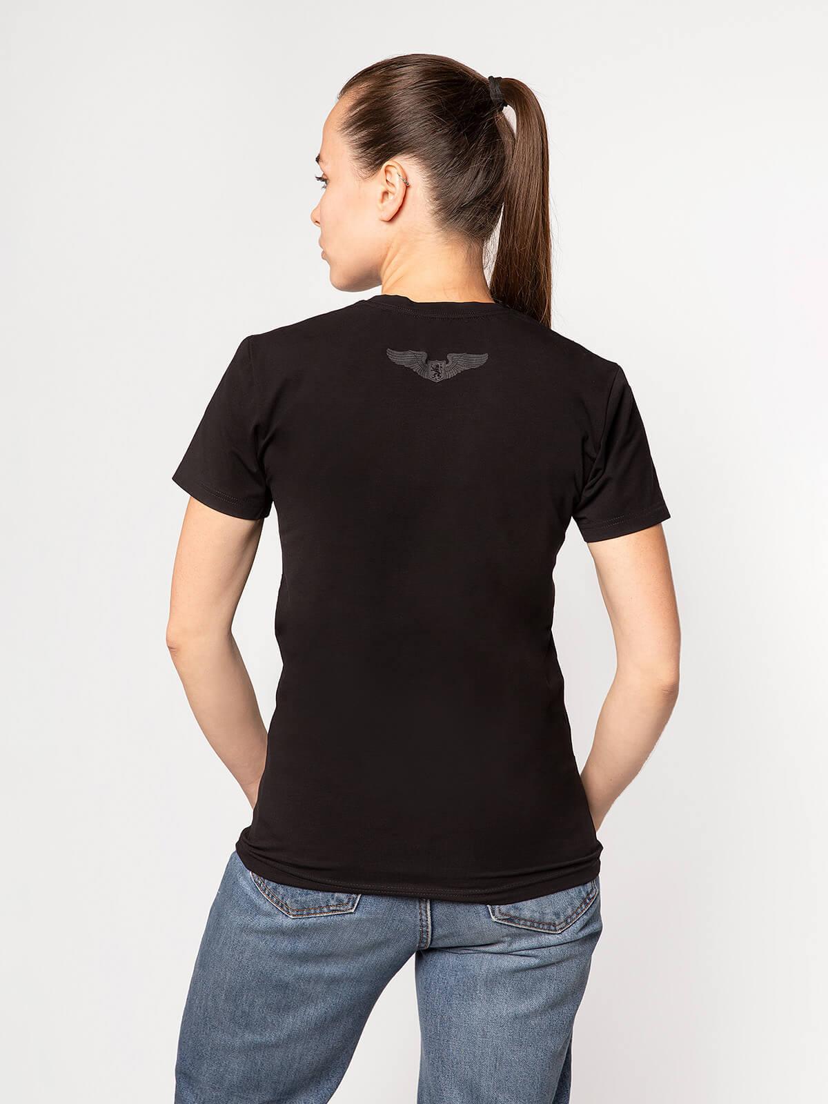 Women's T-Shirt Lion (Roundel). Color black.  Technique of prints applied: silkscreen printing.