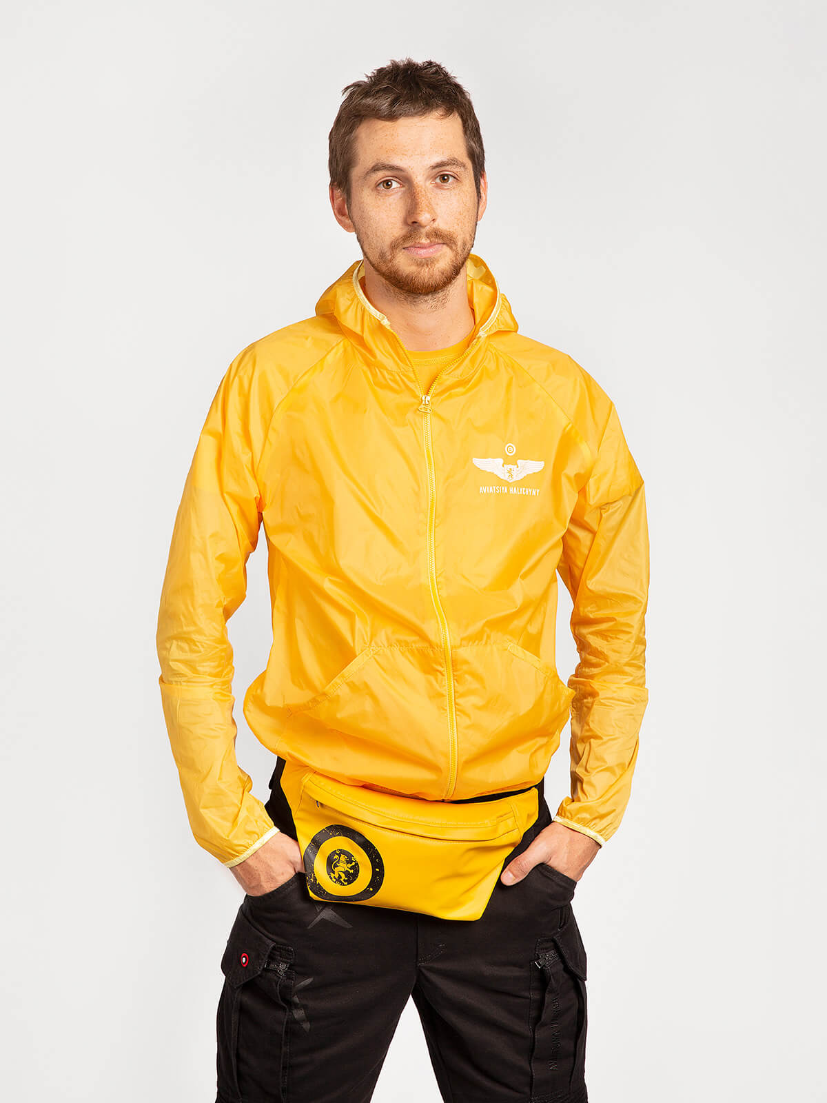 """Windbreaker And Fanny Pack Set """"have A Nice Flight"""". Color yellow. ."""