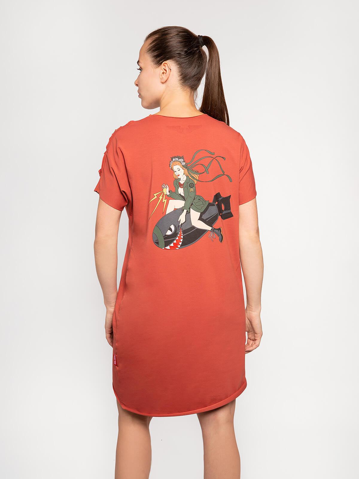 Women's Dress Sophia. Color terracotta.  Technique of prints applied: silkscreen printing.