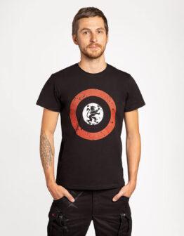 Men's T-Shirt Lion (Roundel). Color black.  Нічого зайвого, лише основне: червоно-чорний рондель з галицьким левом у центрі.