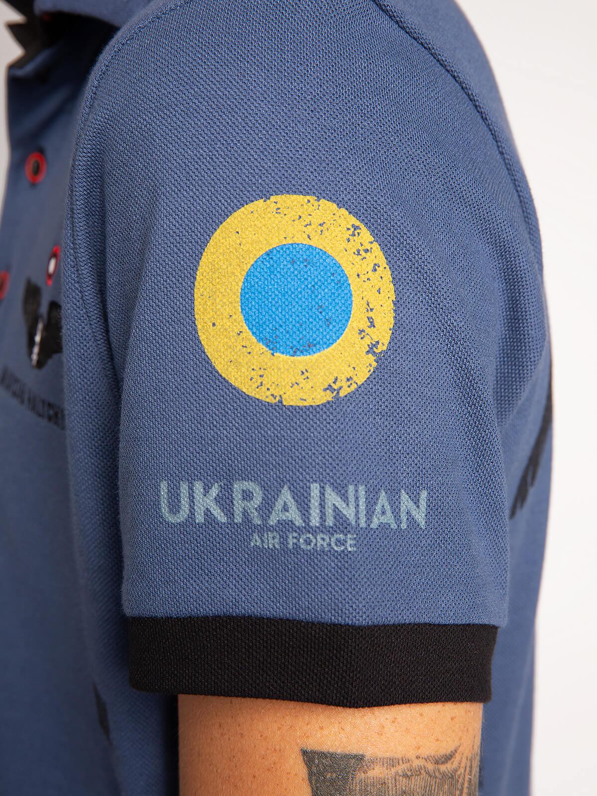 Men's Polo Shirt 831 Brigade. Color denim.  Height of the model: 182 cm.