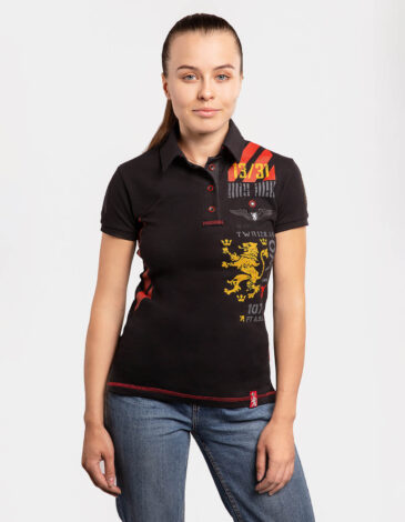 Women's Polo Shirt Lwo. Color black. Pique fabric: 100% cotton.