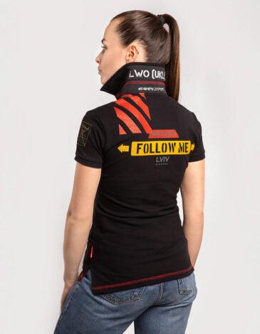 Women's Polo Shirt Lwo. Color black. Pique fabric: 100% cotton.