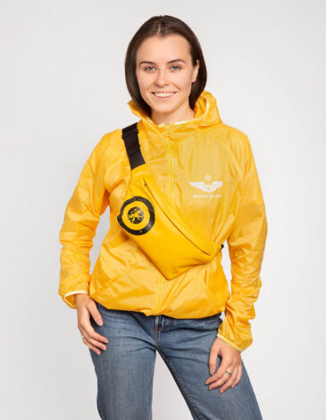 """Windbreaker And Fanny Pack Set """"have A Nice Flight"""". Color yellow. Material fanny pack: basic – polyester 100%, covering – PVC -100%, water resistance 1500 g/m2/24 hour, resistant to ultraviolet, wearproof."""