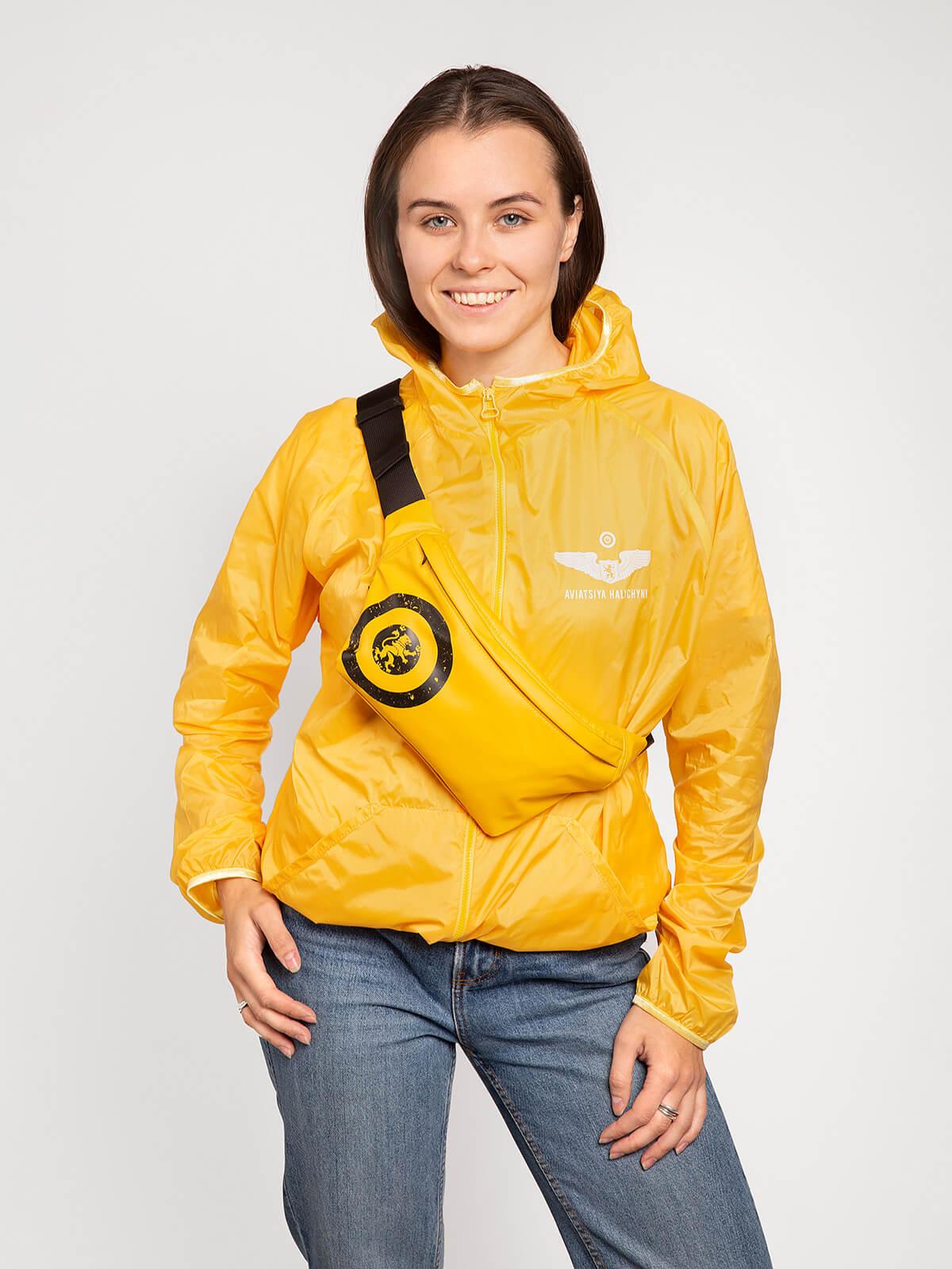 """Бананка З Вітровиком Комплект """"щасливого Лету"""". Колір жовтий. Матеріал бананки — 100% поліефір, покриття – ПВХ-100%, водонепроникність 1500 г/м2/24 год."""