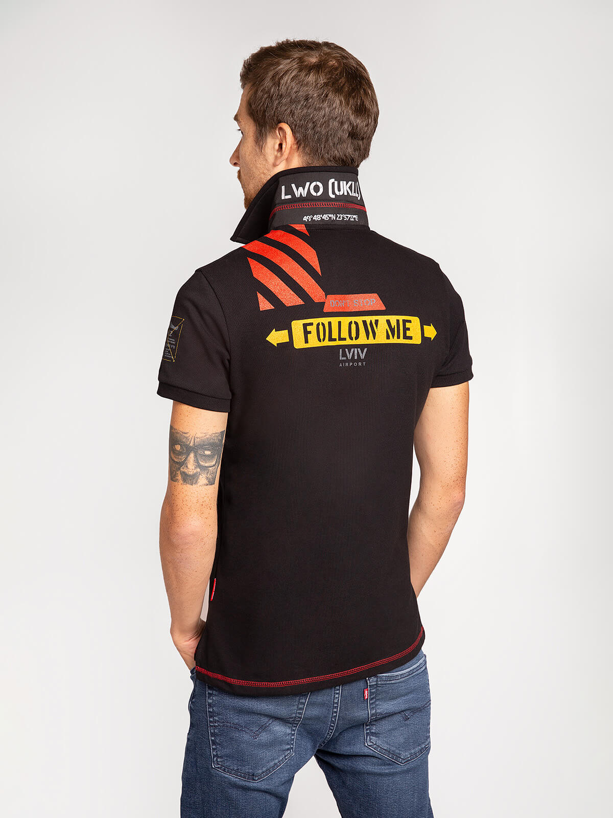 Men's Polo Shirt Lwo. Color black.  Technique of prints applied: embroidery, silkscreen printing.