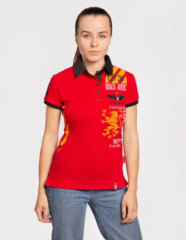 Women's Polo Shirt Lwo. Color red.  Technique of prints applied: embroidery, silkscreen printing.