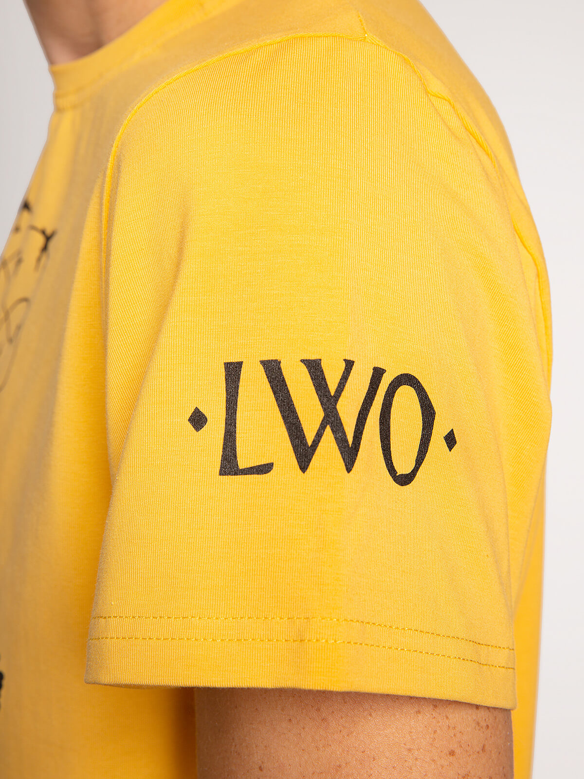 Men's T-Shirt Danylo. Color yellow.  Size worn by the model: M.