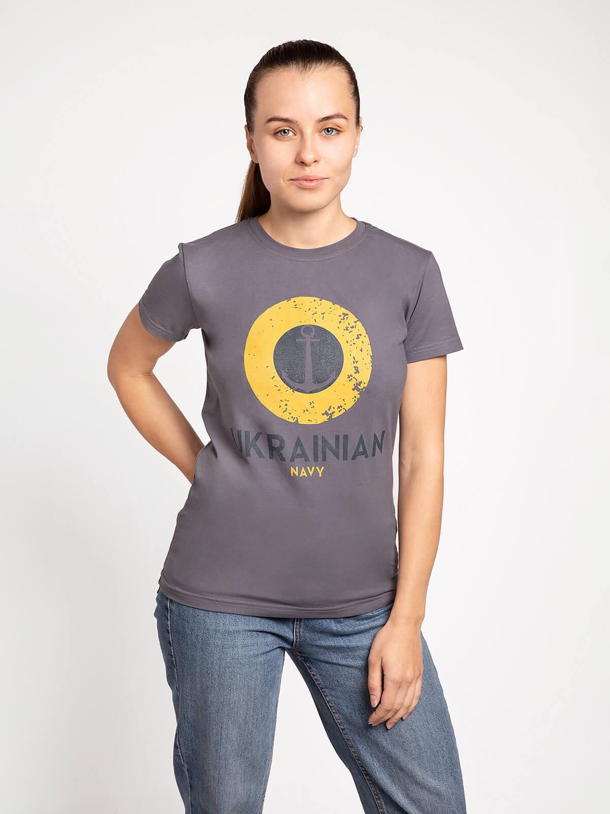 Women's T-Shirt Ukrainian Navy. Color gray. Material: 95% cotton, 5% spandex.