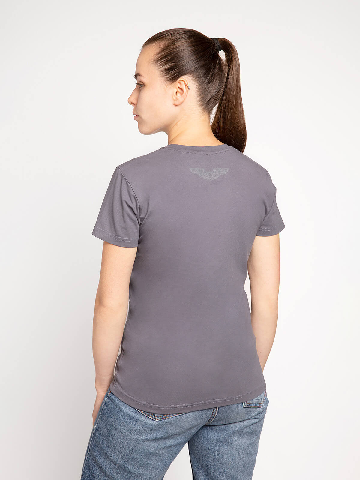 Women's T-Shirt Ukrainian Navy. Color gray.  Technique of prints applied: silkscreen printing.