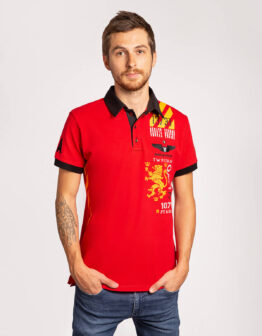 Men's Polo Shirt Lwo. Color red.  Матеріал: 95% бавовна, 5% спандекс.