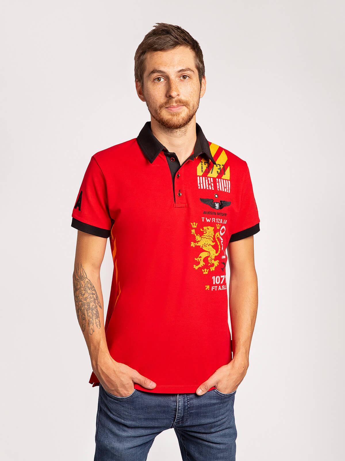 Men's Polo Shirt Lwo. Color red. Pique fabric: 100% cotton.