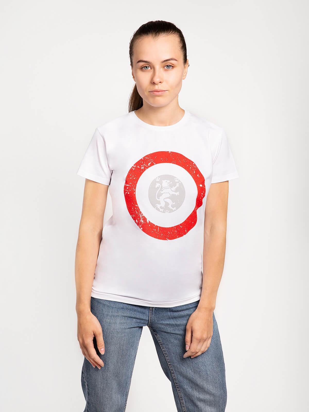 Women's T-Shirt Lion (Roundel). Color white. Material: 95% cotton, 5% spandex.