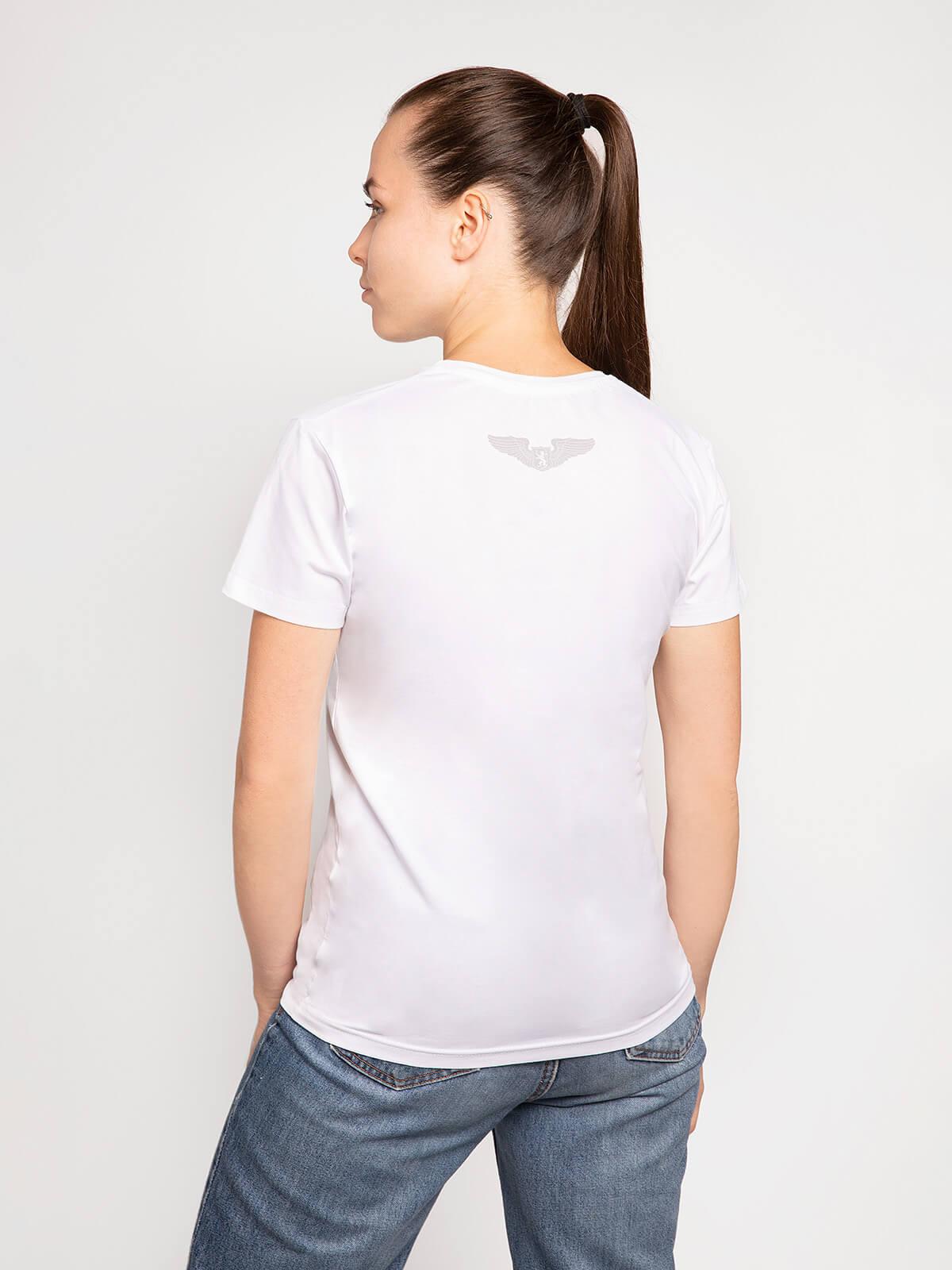 Women's T-Shirt Lion (Roundel). Color white.  Technique of prints applied: silkscreen printing.