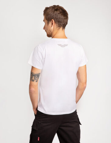 Чоловіча Футболка Лев (Рондель). Колір білий. Футболкаунісекс(розміри чоловічі).