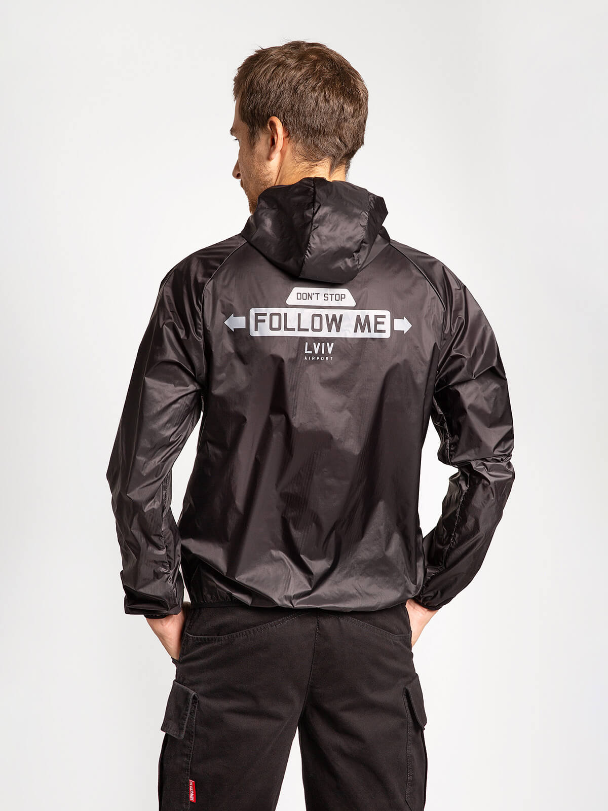"""Windbreaker And Fanny Pack Set """"have A Nice Flight"""". Color black. 4."""