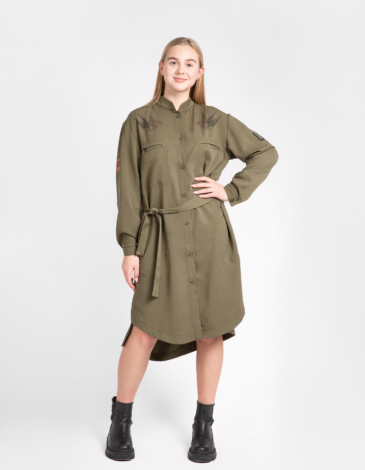 Shirt-Dress Nastusia. Color khaki. Lyocell tissue.
