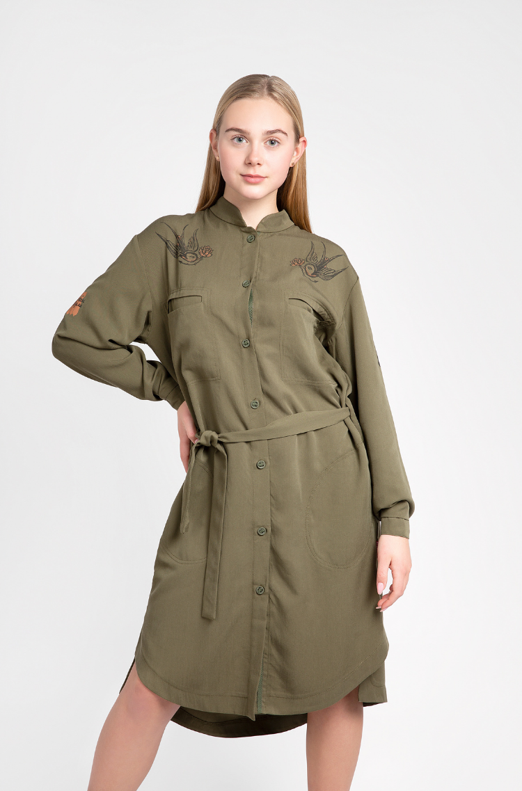 Shirt-Dress Nastusia. Color khaki.  The color shades on your screen may differ from the original color.
