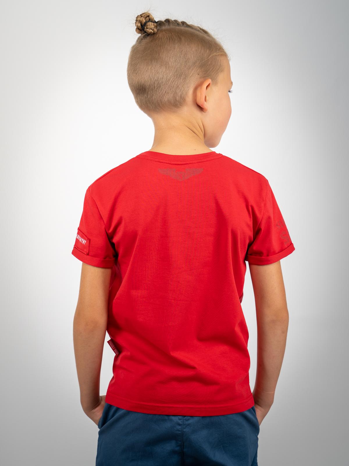 Дитяча Футболка Sikorsky. Колір червоний.  Матеріал: 95% бавовна, 5% спандекс.