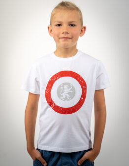 Kids T-Shirt Lion (Roundel). Color white. .