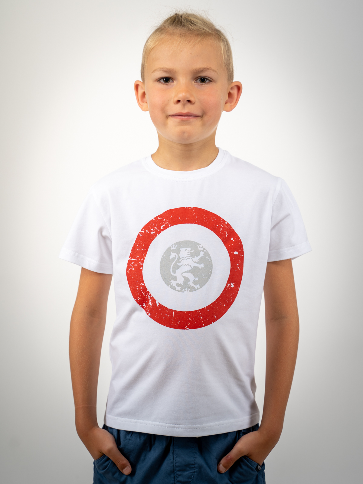 Kids T-Shirt Lion (Roundel). Color white. Unisex T-shirt, well suited for both boys and girls.