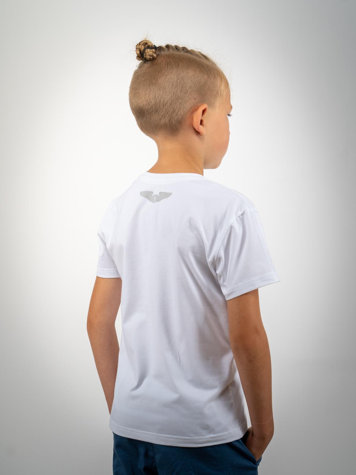 Kids T-Shirt Lion (Roundel). Color white.  Material: 95% cotton, 5% spandex.