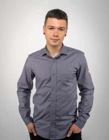 Men's Shirt Molfar-X. Color gray. Pique fabric: 100% cotton.