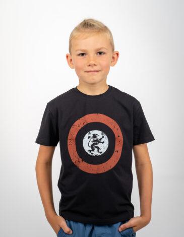 Дитяча Футболка Лев (Рондель). Колір чорний.  Матеріал: 95% бавовна, 5% спандекс.