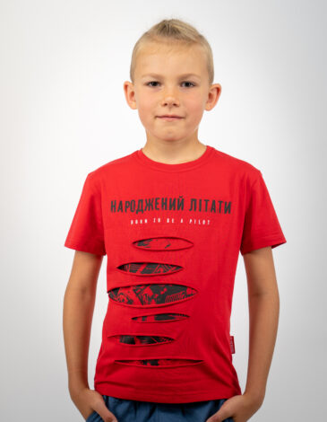 Дитяча Футболка Народжений Літати. Колір червоний. Футболка унісекс.