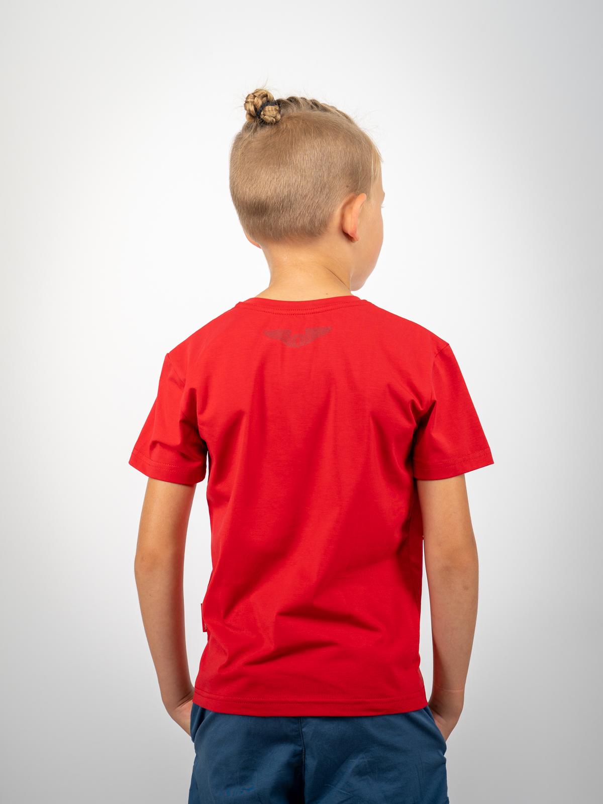 Дитяча Футболка Народжений Літати. Колір червоний.  Матеріал: 95% бавовна, 5% спандекс.