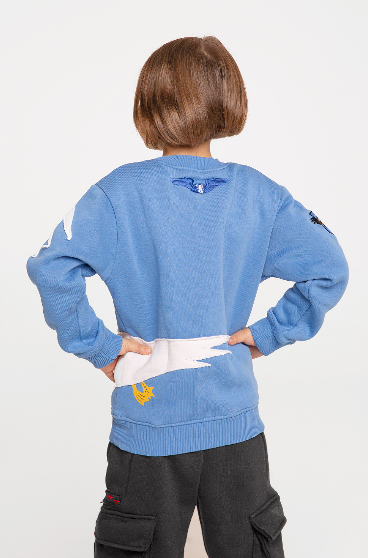 Kids Sweatshirt Pelican. Color sky blue. .