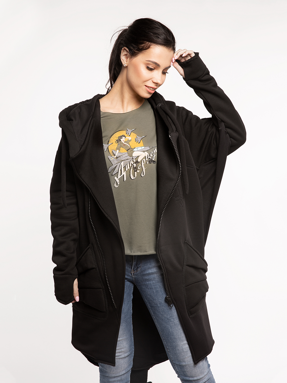 Women's Hoodie Dragon. Color black. 17.