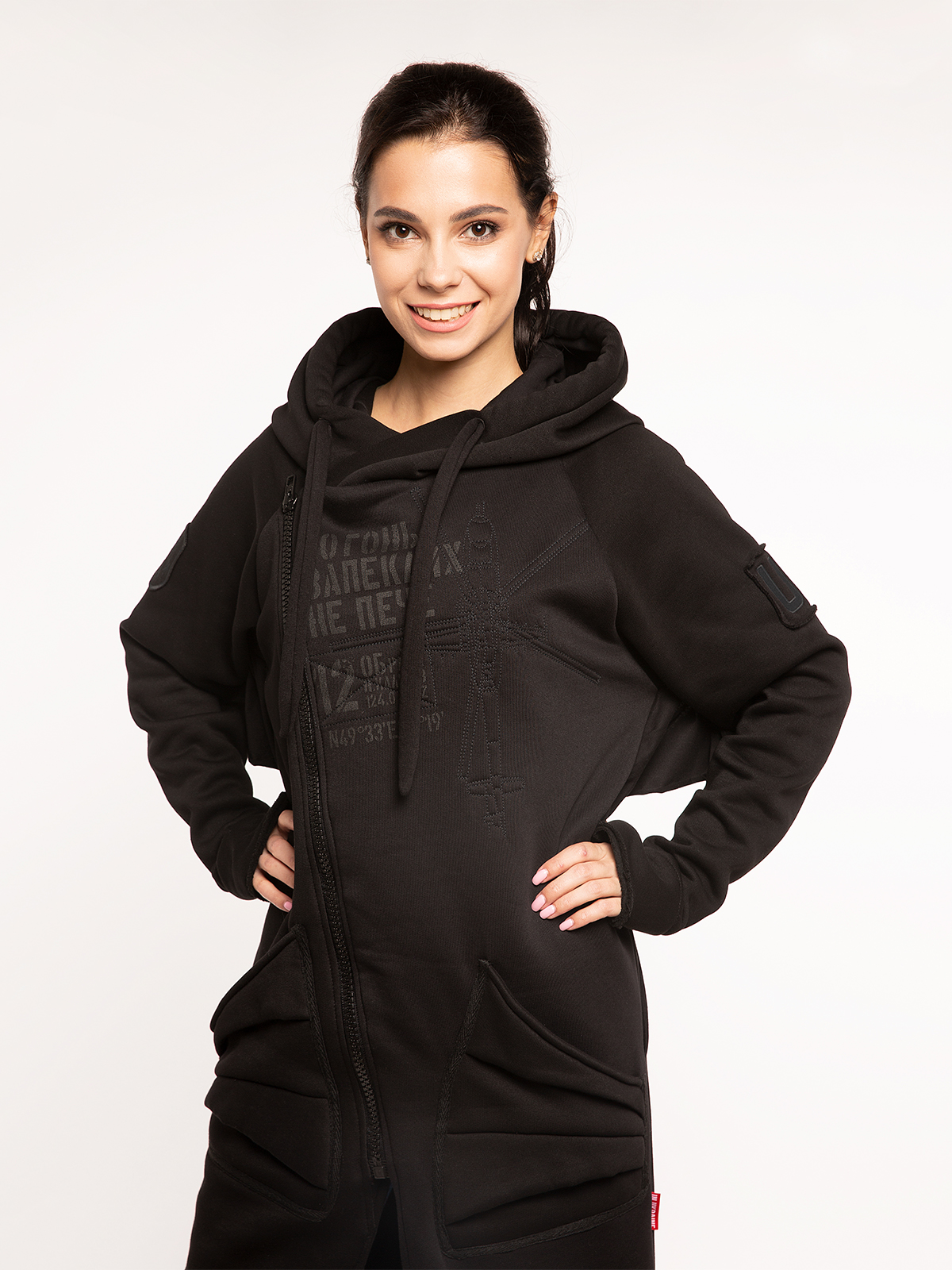 Women's Hoodie Dragon. Color black.  Don't worry about the universal size.