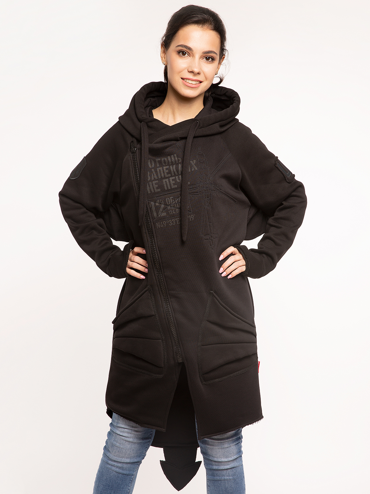 Women's Hoodie Dragon. Color black. 7.