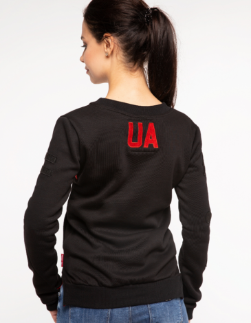 Women's Sweatshirt Ua. Color black. Three-cord thread fabric: 77% cotton, 23% polyester.