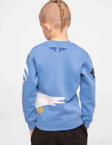 Kids Sweatshirt Pelican. Color sky blue. Hoodie: unisex, well suited for both boys and girls.