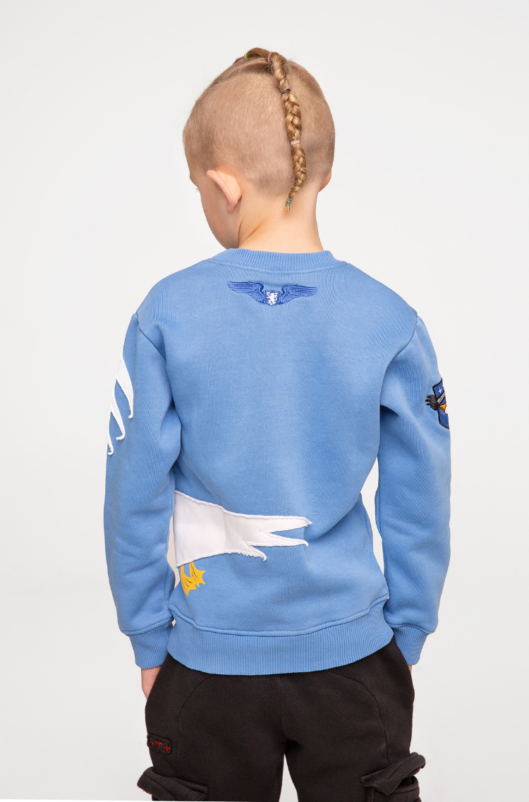 Kids Sweatshirt Pelican. Color sky blue.  Material: 77% cotton, 23% polyester.