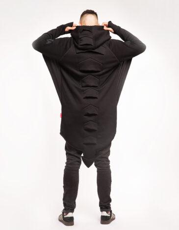 Men's Hoodie Dragon. Color black. Three-cord thread fabric: 77% cotton, 23% polyester.