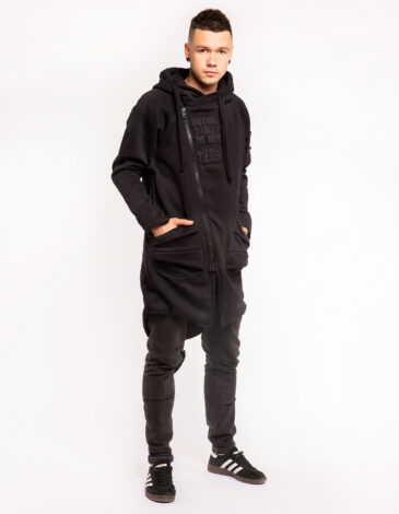 Men's Hoodie Dragon. Color black. Three-cord thread fabric: 77% cotton, 23% polyester.