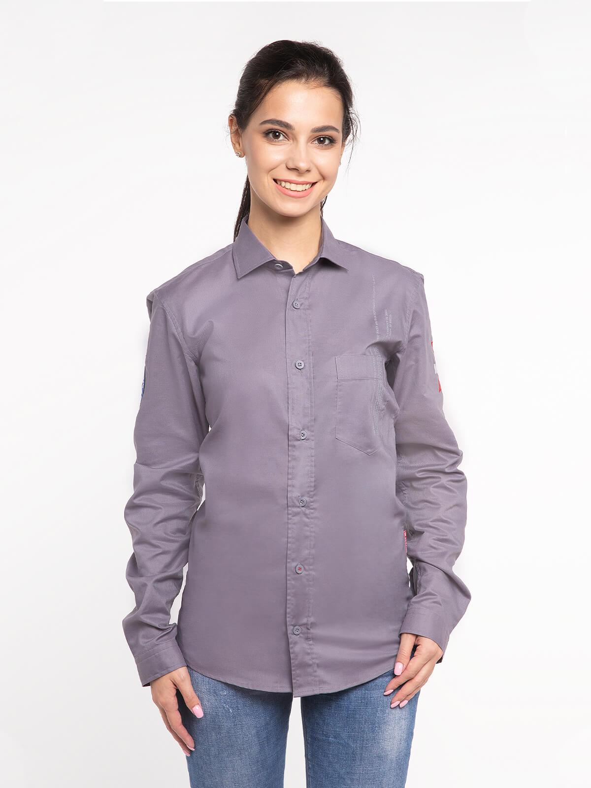 Women's Shirt Molfar-X. Color gray. Pique fabric: 100% cotton.
