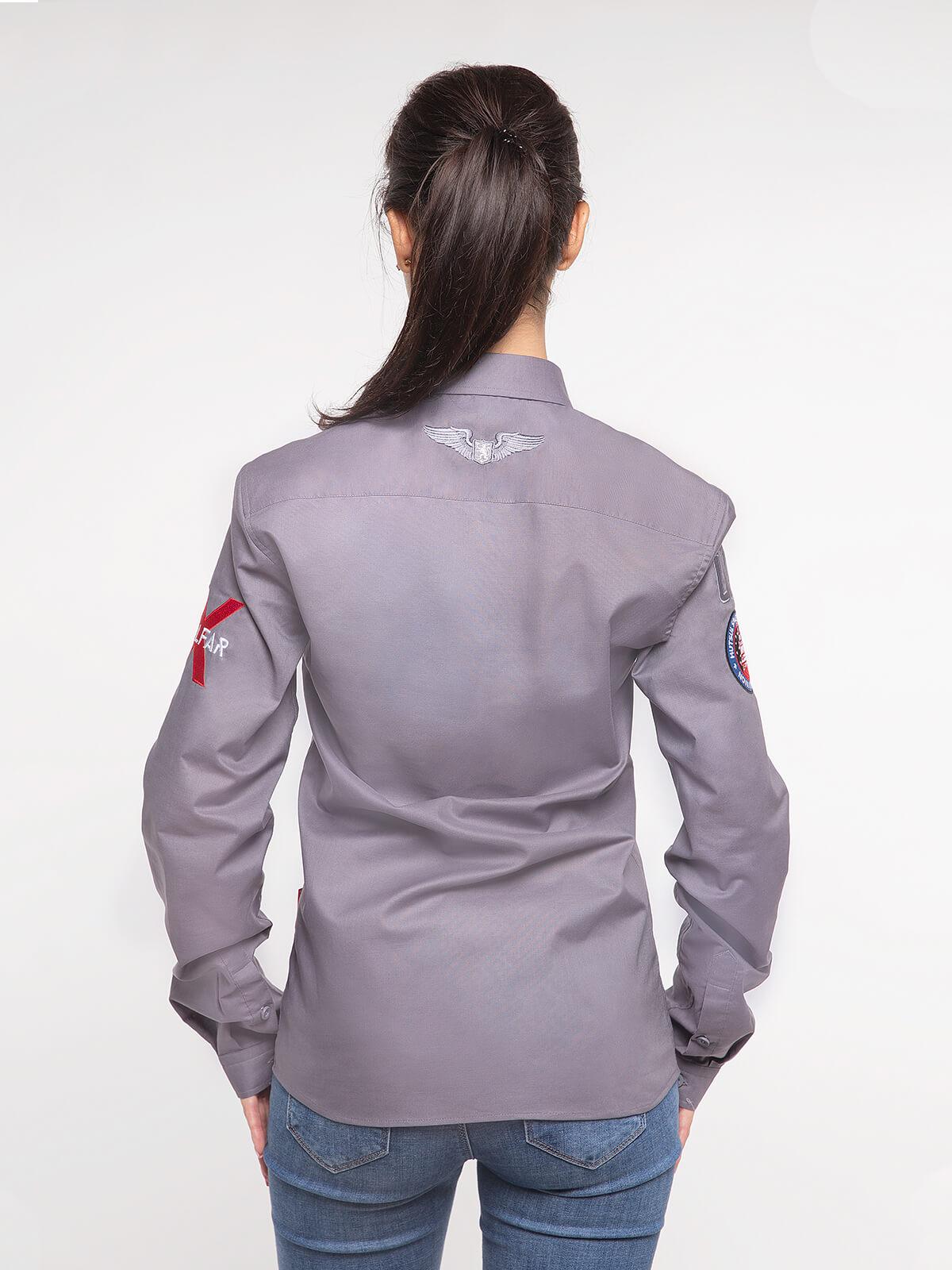 Women's Shirt Molfar-X. Color gray.  Technique of prints applied: embroidery, silkscreen printing.