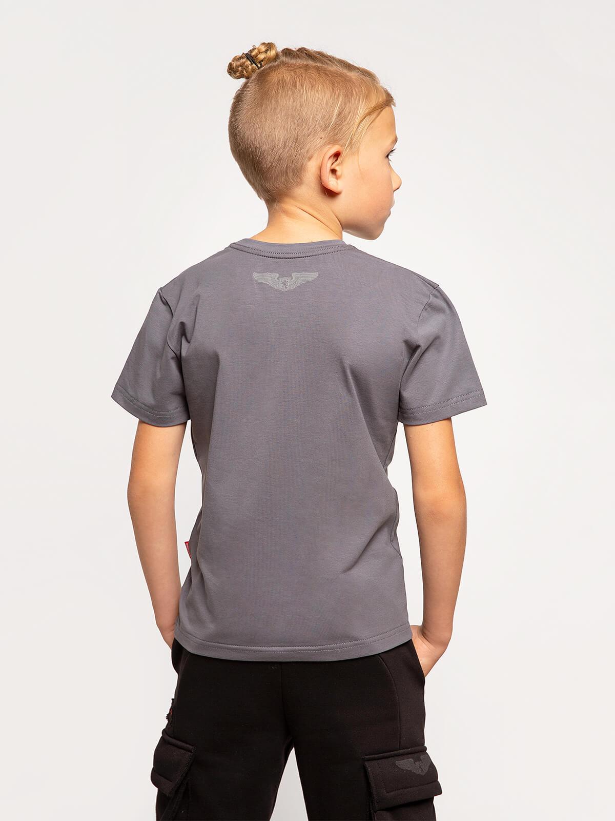 Kids T-Shirt Ukrainian Navy. Color dark gray.  Material: 95% cotton, 5% spandex.