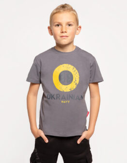 Kids T-Shirt Ukrainian Navy. Color dark grey. .