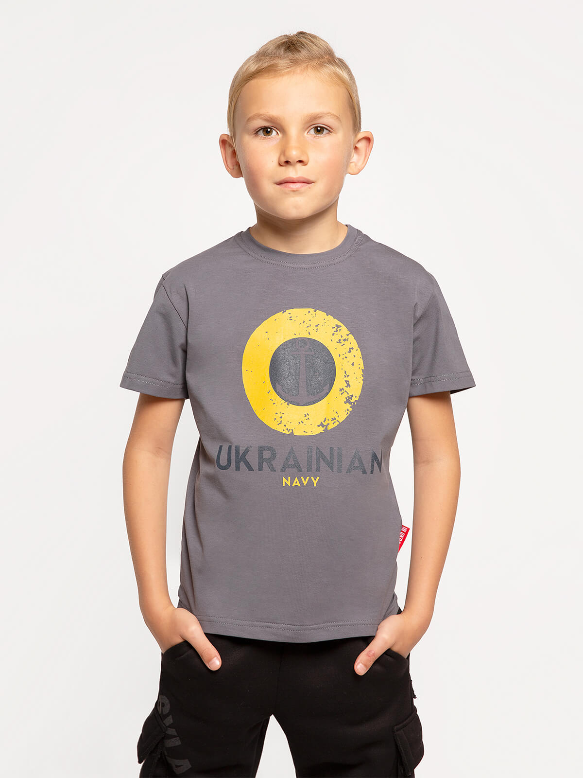 Kids T-Shirt Ukrainian Navy. Color dark gray. Unisex T-shirt well suited for both boys and girls.
