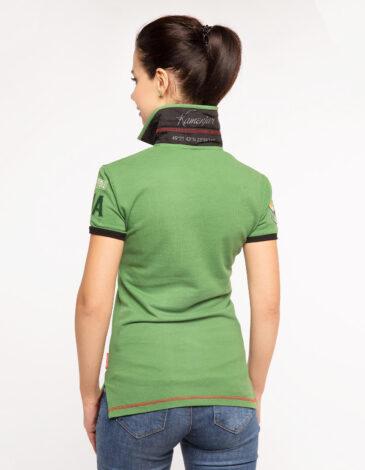 Women's Polo Shirt Ivan Franko. Color green.  Technique of prints applied: embroidery, silkscreen printing.