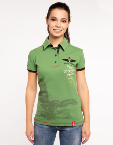 Women's Polo Shirt Ivan Franko. Color green. Pique fabric: 100% cotton.